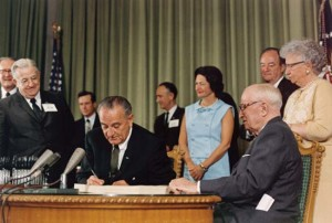 President Lyndon B. Johnson signed the law that created Medicaid in 1965.