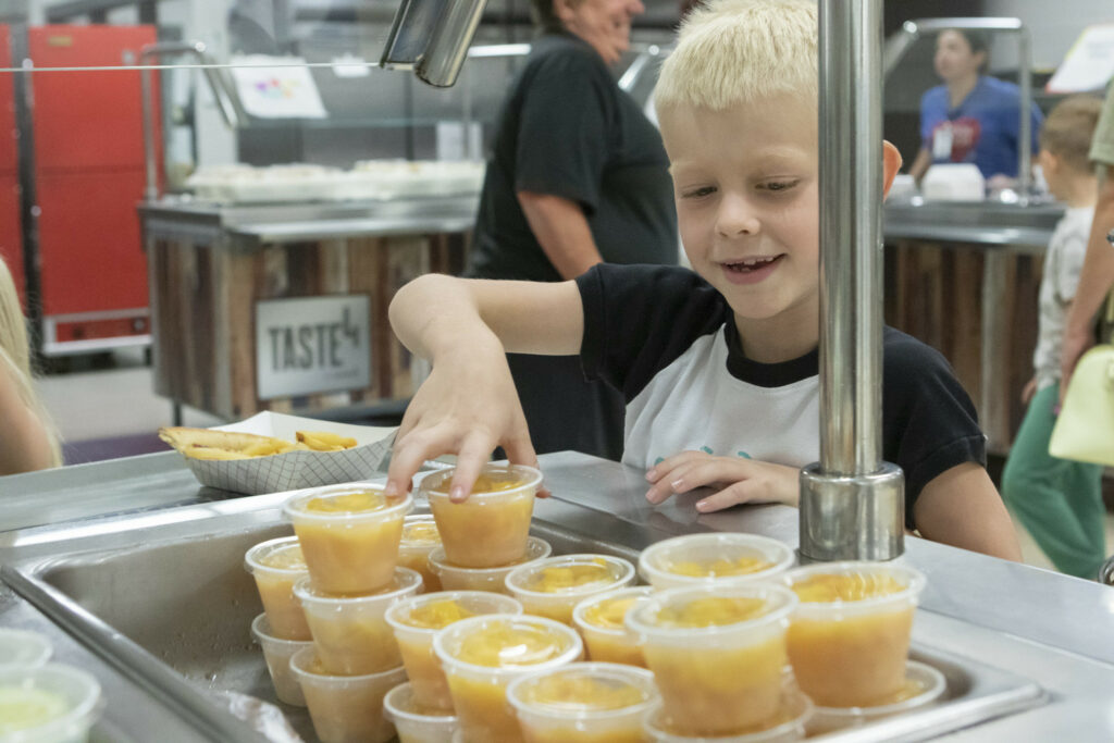 Kid with fruit cups